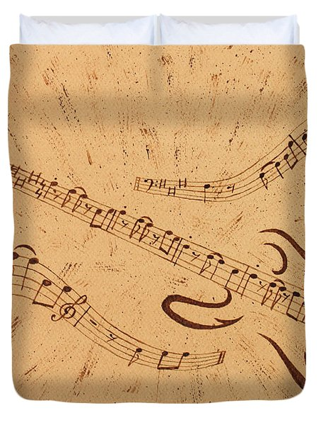 Stand By Me Guitar Notes Original Coffee Painting Duvet Cover