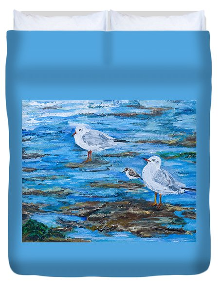 Sea Birds Wait Duvet Cover