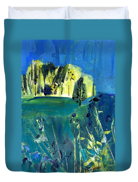 Stand Of Trees In Distance Duvet Cover