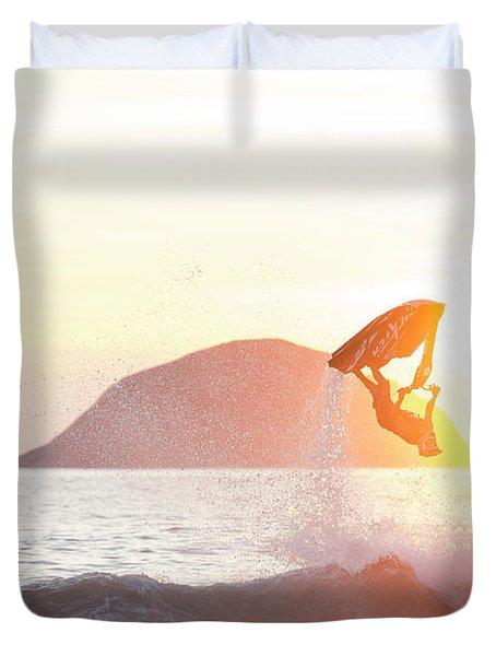 Stand Up Jet Ski Backflip At Sunset Duvet Cover