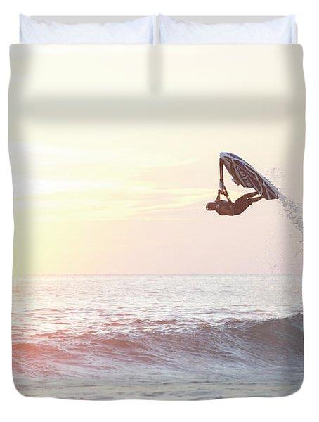 Stand Up Jet Ski Barrel Roll At Sunset Duvet Cover