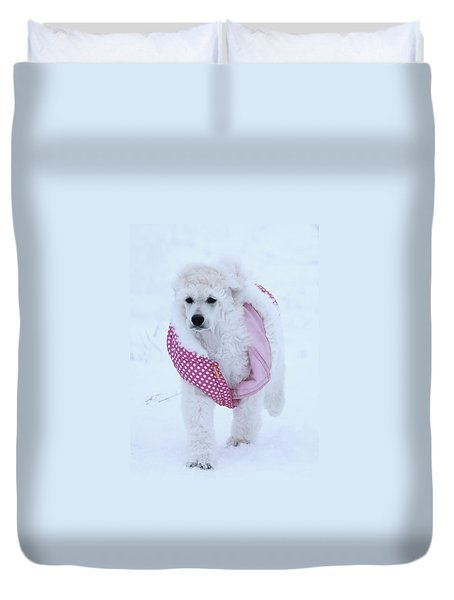 Standard Poodle In Winter Duvet Cover