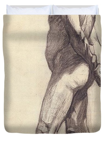 Standing Male Nude Duvet Cover by Felix Edouard Vallotton
