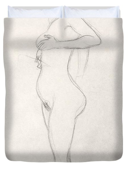 Standing Nude Girl Looking Up Duvet Cover