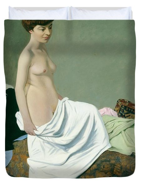 Standing Nude Holding A Gown On Her Knee Duvet Cover by Felix Edouard Vallotton