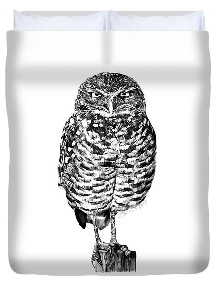 041 - Owl With Attitude Duvet Cover by Abbey Noelle