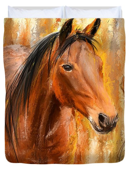 Standing Regally- Bay Horse Paintings Duvet Cover