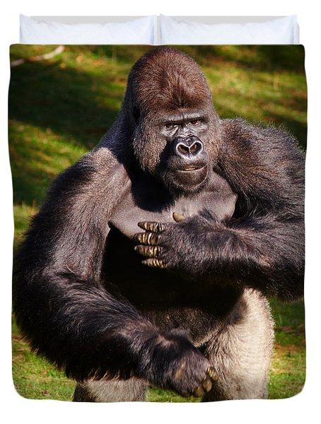 Standing Silverback Gorilla Duvet Cover