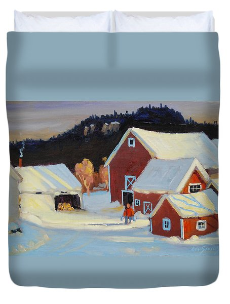 Duvet Cover featuring the painting Stanley Kay Farm by Len Stomski