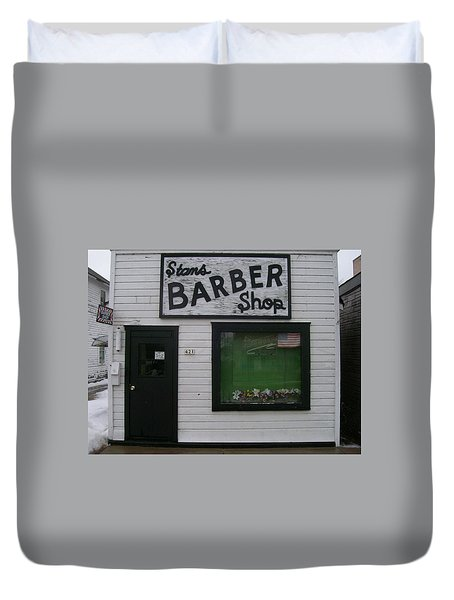 Duvet Cover featuring the photograph Stans Barber Shop Menominee by Jonathon Hansen