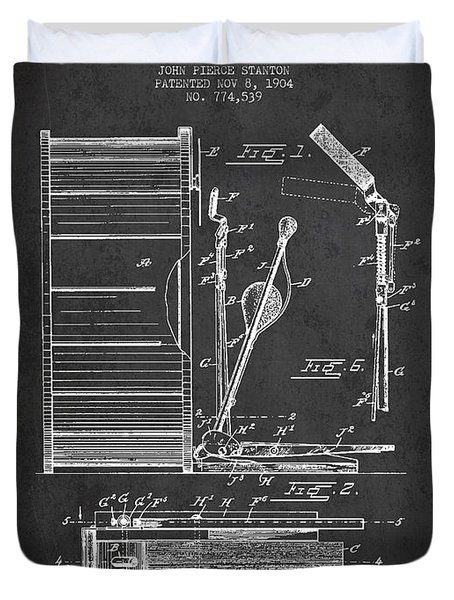 Stanton Bass Drum Patent Drawing From 1904 - Dark Duvet Cover