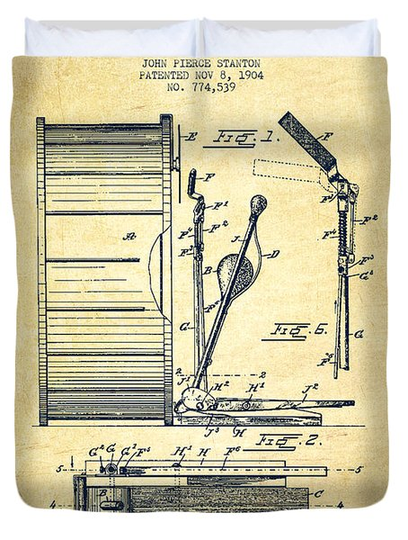 Stanton Bass Drum Patent Drawing From 1904 - Vintage Duvet Cover