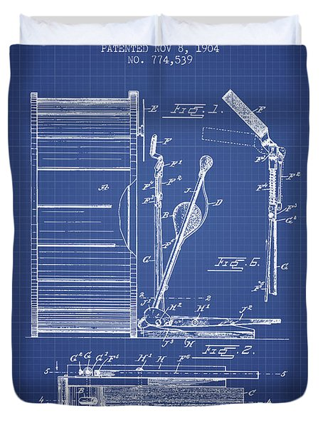 Stanton Bass Drum Patent From 1904 - Blueprint Duvet Cover by Aged Pixel