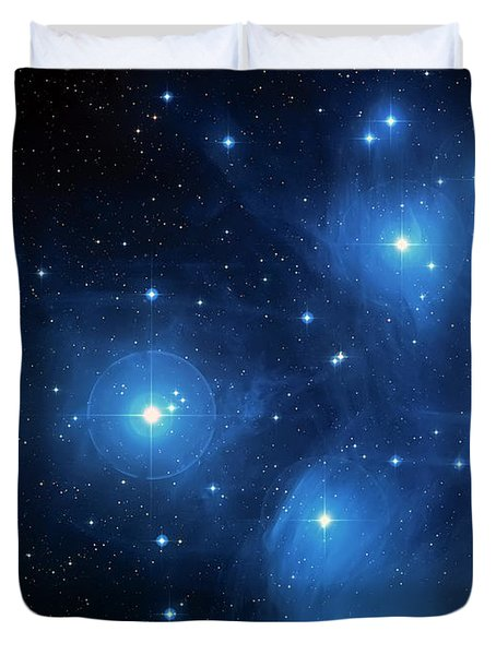 Star Cluster Pleiades Seven Sisters Duvet Cover by Jennifer Rondinelli Reilly - Fine Art Photography