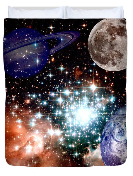 Star Field With Planets Duvet Cover