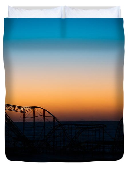 Star Jet Roller Coaster Silhouette  Duvet Cover by Michael Ver Sprill