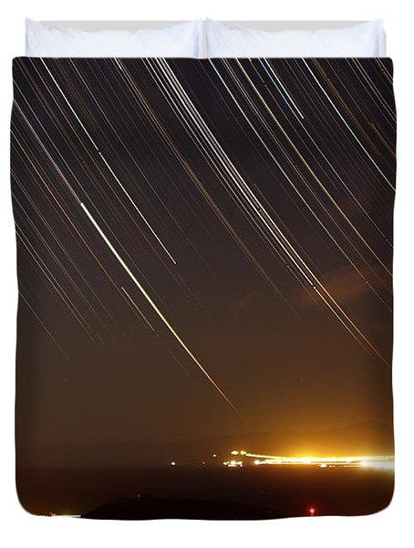 Star Trails Above A Village Duvet Cover by Amin Jamshidi
