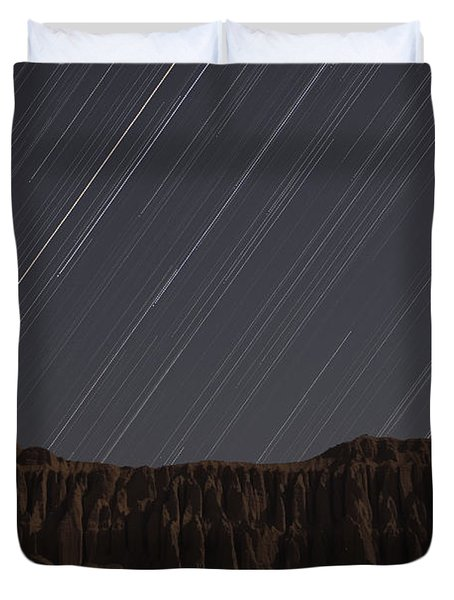 Star Trails Above Martians Valley Duvet Cover by Amin Jamshidi