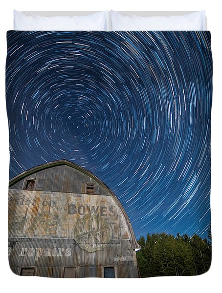 Star Trails Over Barn Duvet Cover
