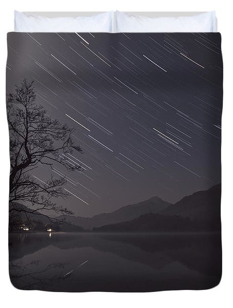 Star Trails Over Lake Duvet Cover