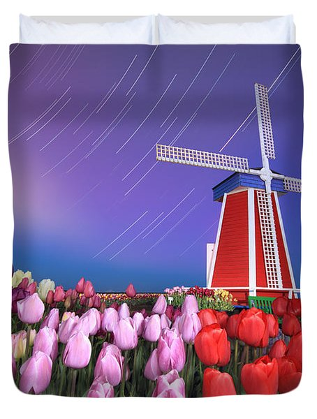 Duvet Cover featuring the photograph Star Trails Windmill And Tulips by William Lee