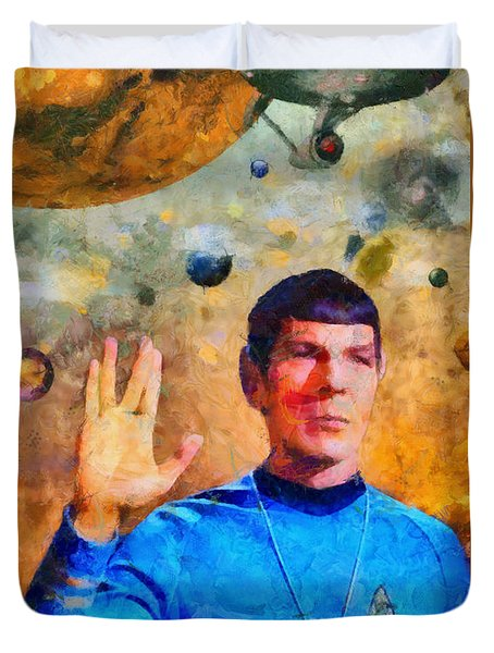 Duvet Cover featuring the painting Star Trek-leonard Nimoy by Elizabeth Coats