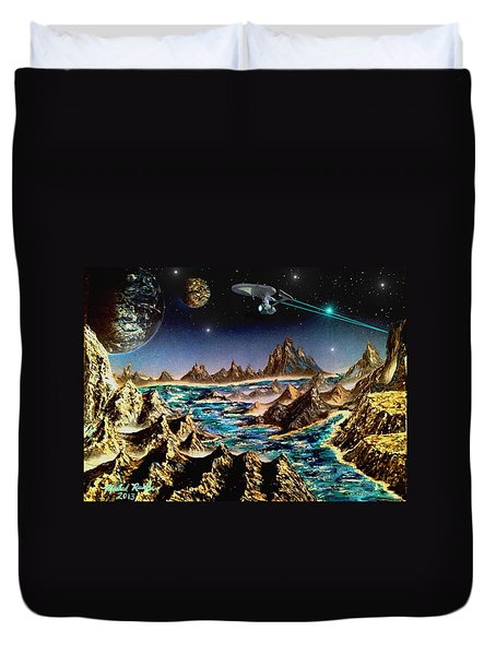 Star Trek - Orbiting Planet Duvet Cover by Michael Rucker