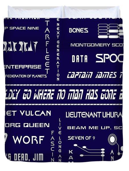 Star Trek Remembered In Navy Blue Duvet Cover by Georgia Fowler