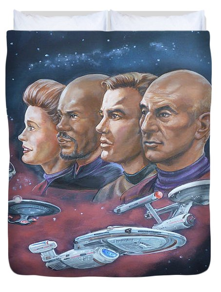 Duvet Cover featuring the painting Star Trek Tribute Captains by Bryan Bustard