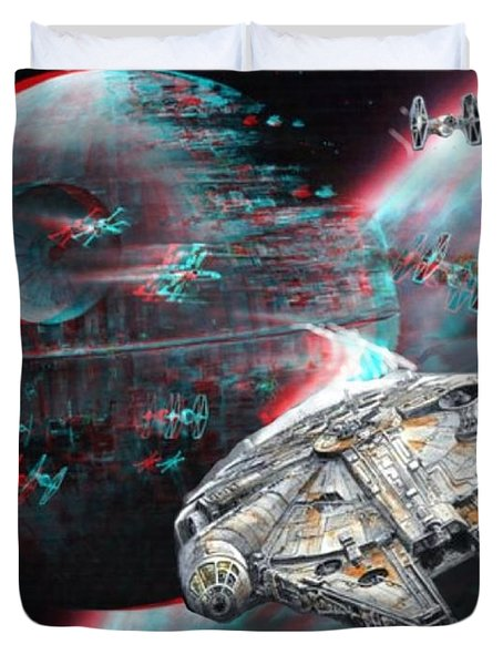Star Wars 3d Millennium Falcon Duvet Cover by Paul Van Scott