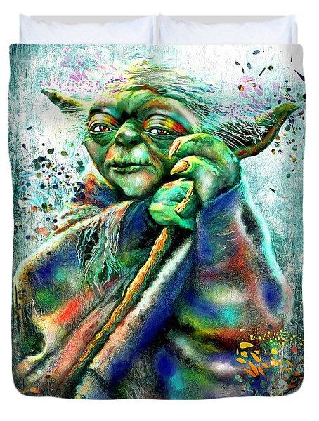 Star Wars Yoda Duvet Cover by Daniel Janda