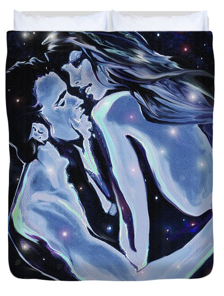 Duvet Cover featuring the digital art Starcrossed Lovers by Jane Schnetlage