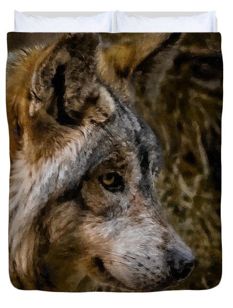 Stare Of The Wolf Duvet Cover by Ernie Echols