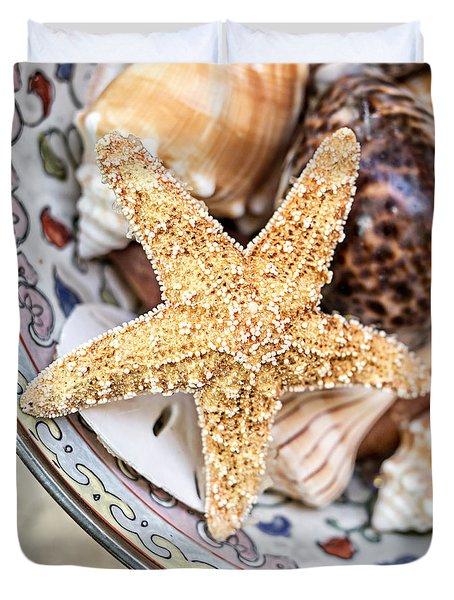 Starfish And Seashells Duvet Cover