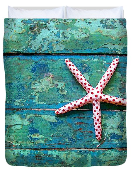 Seashore Peeling Paint - Starfish And Turquoise Duvet Cover