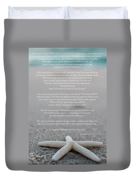Starfish Make A Difference  Duvet Cover