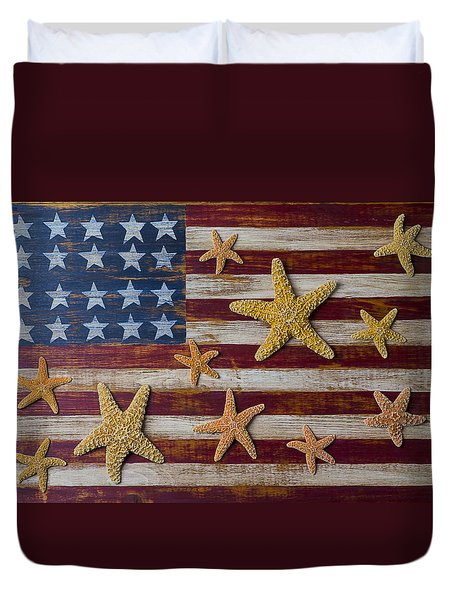 Starfish On American Flag Duvet Cover by Garry Gay