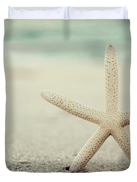 Starfish On Beach Vintage Seaside New Jersey  Duvet Cover