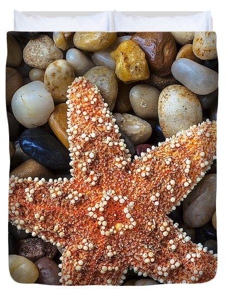 Starfish On Rocks Duvet Cover