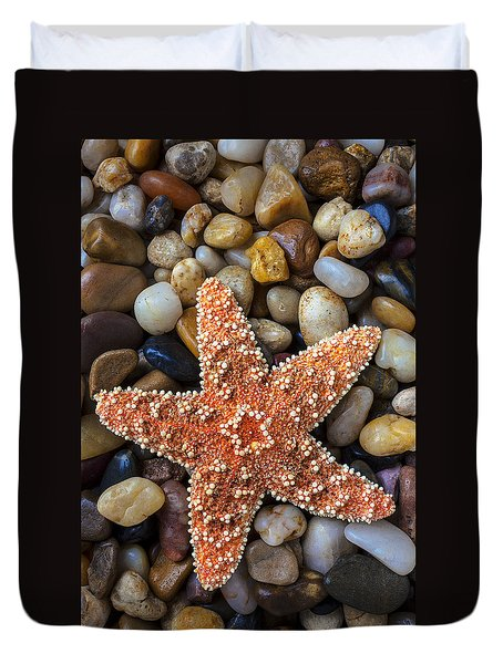 Starfish On Rocks Duvet Cover by Garry Gay
