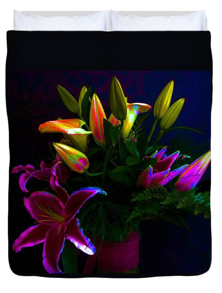 Duvet Cover featuring the photograph Stargazer Bouquet by Carolyn Repka