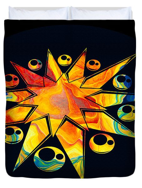 Staring Into Eternity Abstract Stars And Circles Duvet Cover