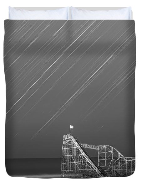 Starjet Roller Coaster Startrails Bw Duvet Cover by Michael Ver Sprill