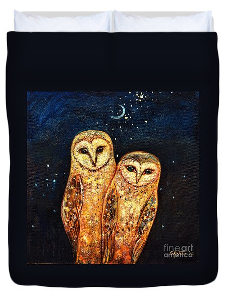 Starlight Owls Duvet Cover by Shijun Munns