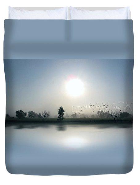 Starlings Misty Morning Duvet Cover by Cedric Hampton