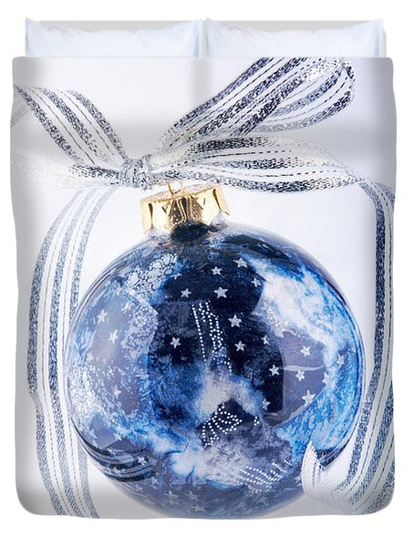 Christmas Ornament With Stars Duvet Cover