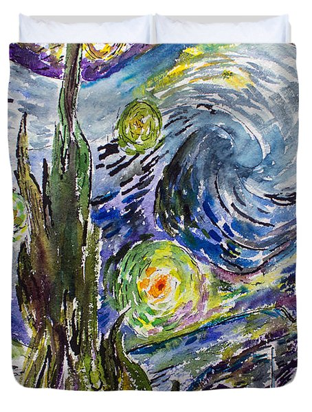 Duvet Cover featuring the painting Starry Night After Vincent Van Gogh by Ginette Callaway