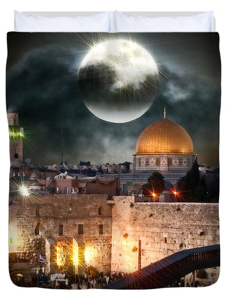 Starry Night At The Dome Of The Rock Duvet Cover by Doc Braham