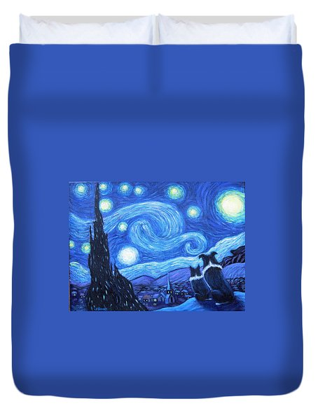 Starry Night Border Collies Duvet Cover