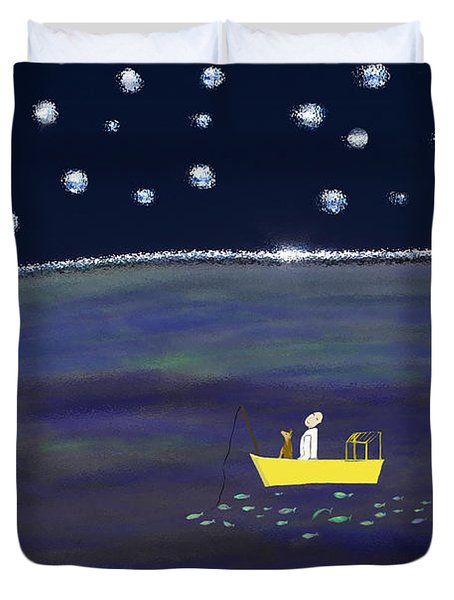 Duvet Cover featuring the digital art Starry Night Fishing by Haleh Mahbod